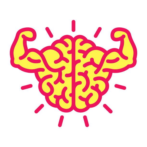 Brain power icon Strong brain. Files included: Vector EPS 10, HD JPEG 3000 x 3000 px stiff stock illustrations
