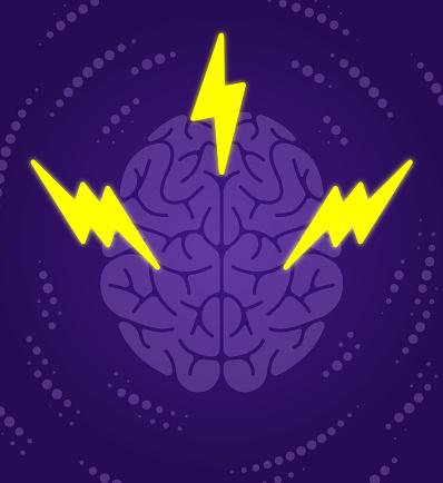 Brain Power Thought Lightning Bolt Concept