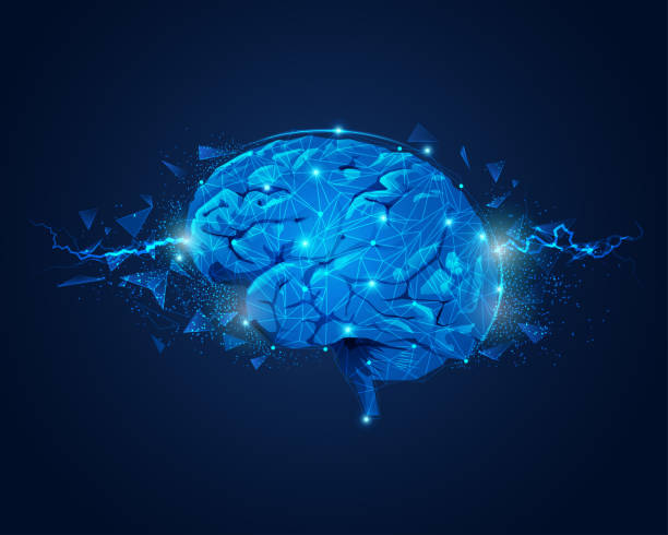 brain power concept of brain power, graphic of brain with lightning and broken polygon element brain stock illustrations