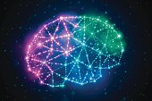 Abstract glowing brain power concept network, stars or nodes background concept. EPS 10 file. Transparency effects used on highlight elements.