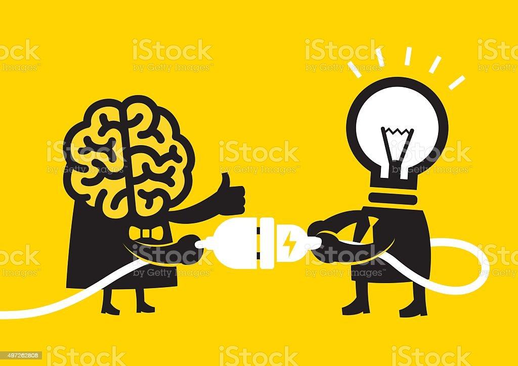 Cerveau ampoule idée des compétences-()/Jaune d'affaires - clipart vectoriel de 2015 libre de droits
