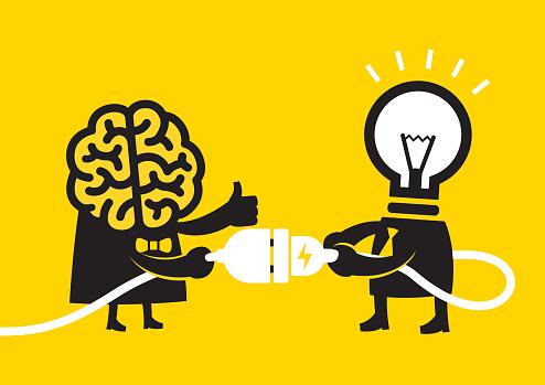 Cerveau Ampoule Idée Des Compétencesjaune Daffaires Vecteurs libres de droits et plus d'images vectorielles de 2015