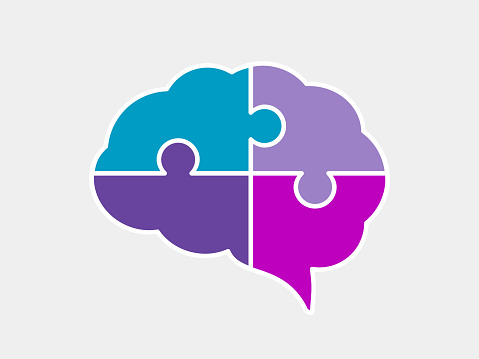 Brain puzzle icon. Colorful neurodiversity concept. Human mind complexity.