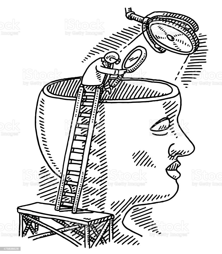Brain Research Science Concept Drawing vector art illustration