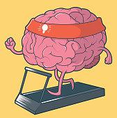 Brain running boosting the creativity vector illustration