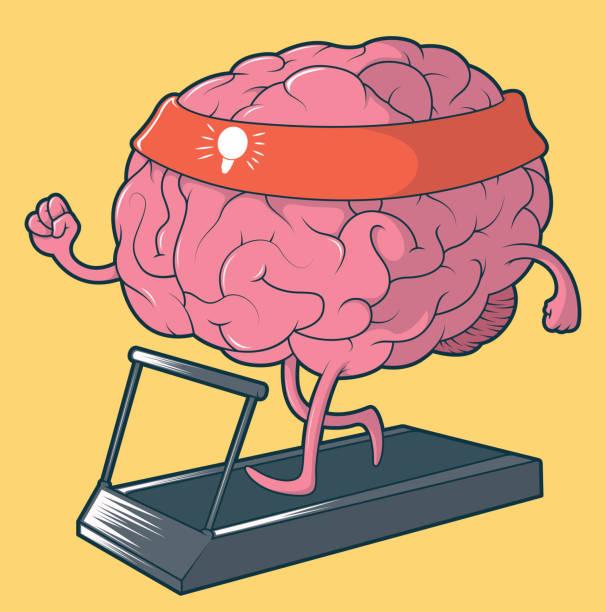 ilustrações de stock, clip art, desenhos animados e ícones de brain running boosting the creativity vector illustration - active brain