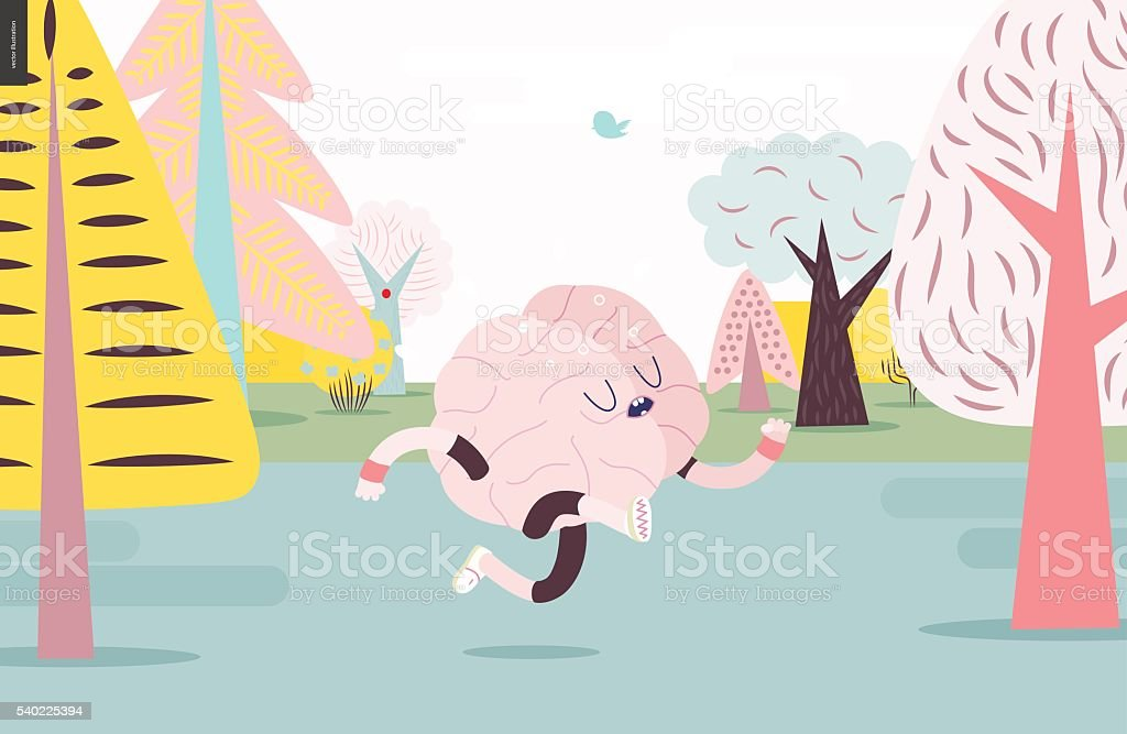 Brain running in the forest, white and pink version Brain running through the forest - a vector illustration of a running brain wearing sporting wear running among the trees, colorful pastel version Active Lifestyle stock vector
