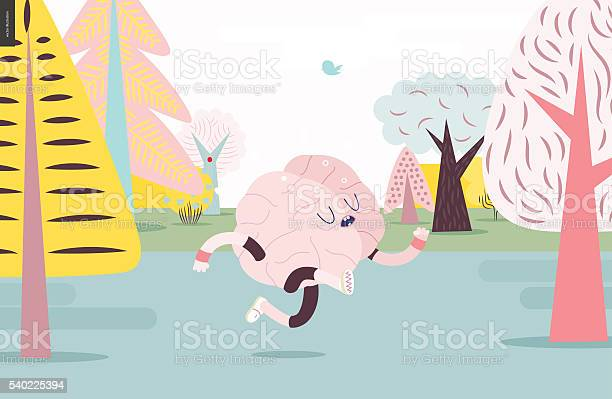 Brain Running In The Forest White And Pink Version Stock Illustration - Download Image Now