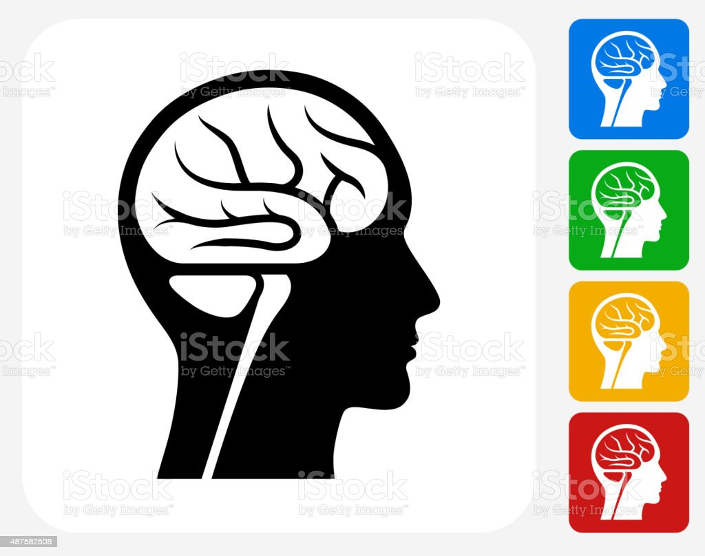 Brain Scan Icon Flat Graphic Design vector art illustration