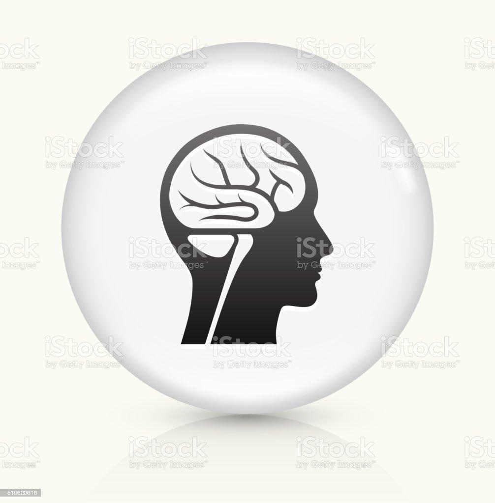 Brain Scan icon on white round vector button vector art illustration