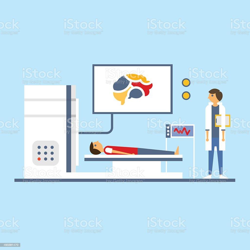 Brain Scanning, Flat Vector Illustration vector art illustration