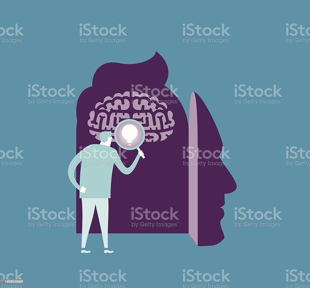Brain Searching vector art illustration