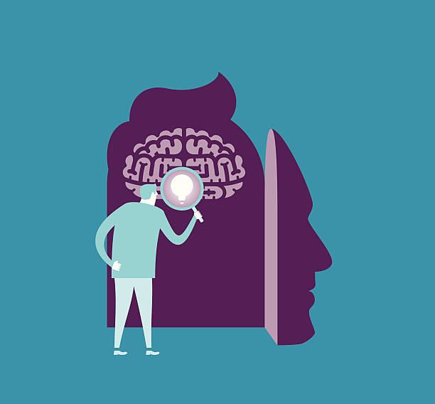 bildbanksillustrationer, clip art samt tecknat material och ikoner med brain searching - brain magnifying
