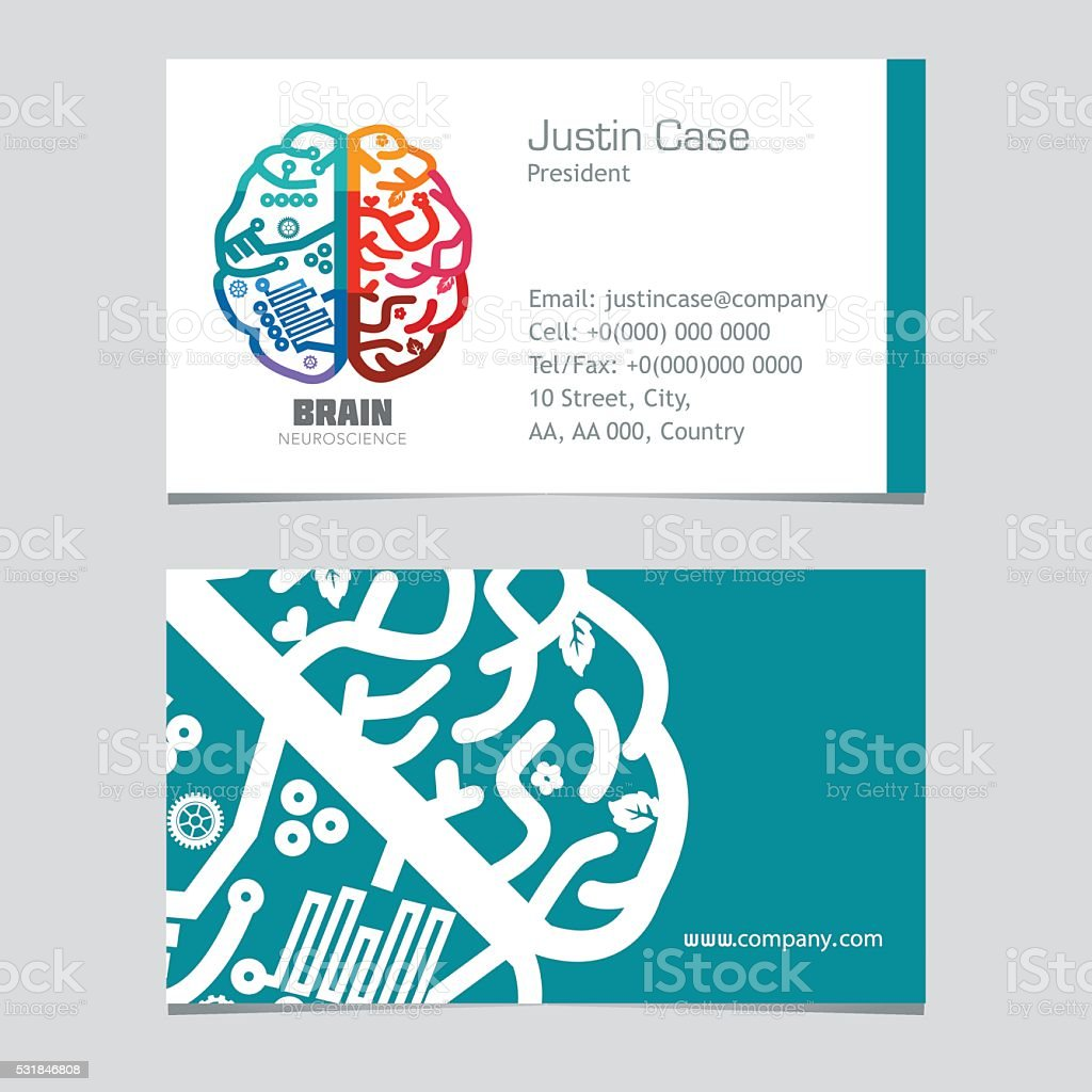 Brain Sign Business Card Design Template For Neuroscience Medicine ...