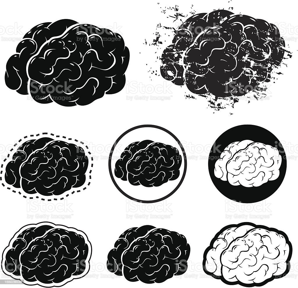 Brain Silhouette and Grunge Vector Illustration royalty-free brain silhouette and grunge vector illustration stock vector art & more images of anatomy