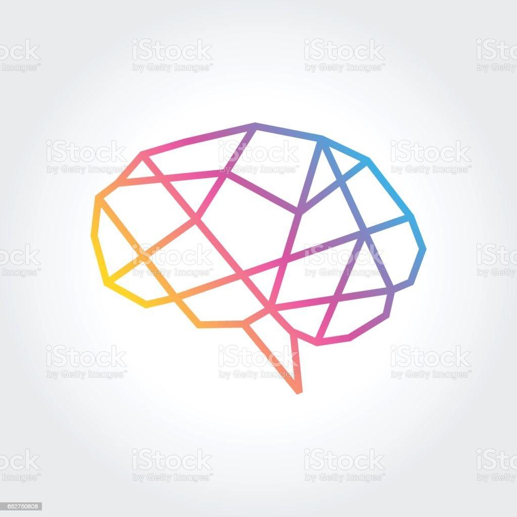 Gehirn Silhouette Vektor Entwurfsvorlage. Denke Idee Konzept - Lizenzfrei Betrachtung Vektorgrafik