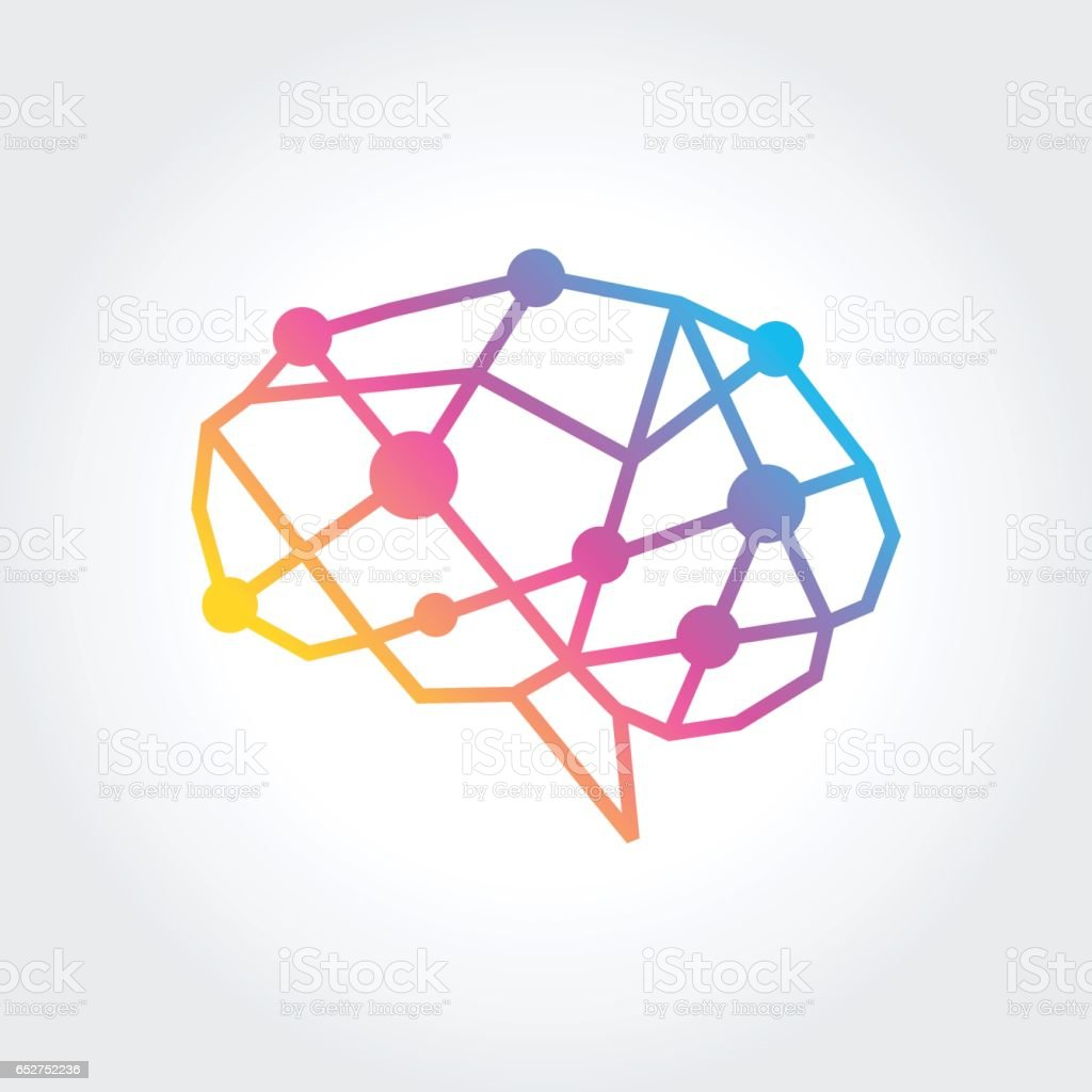 Brain silhouette design vector template. Think idea concept vector art illustration