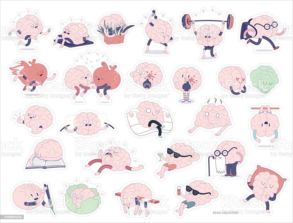 Brain stickers set royalty-free brain stickers set stock illustration - download image now
