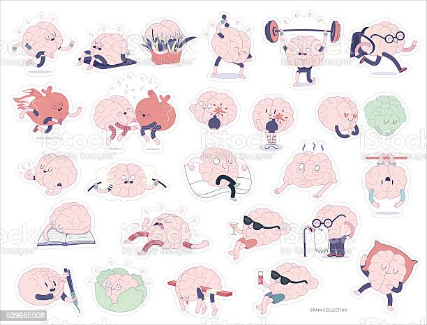 Brain Stickers Set Stock Illustration - Download Image Now