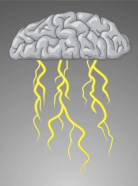 Brain Storm Cloud-brain's lightning. forked lightning stock illustrations