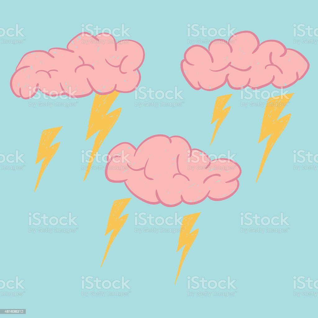 Brain cloud are stroming and sparking, hand drawing line vector.