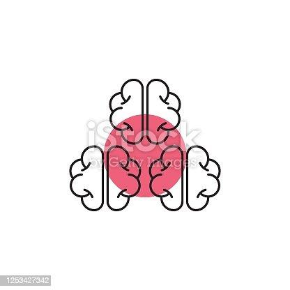 Brain storming minimal icon, brain activity, creative. Teamwork icon. Vector illustration