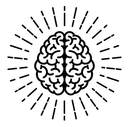 Brain icon with sunburst.
