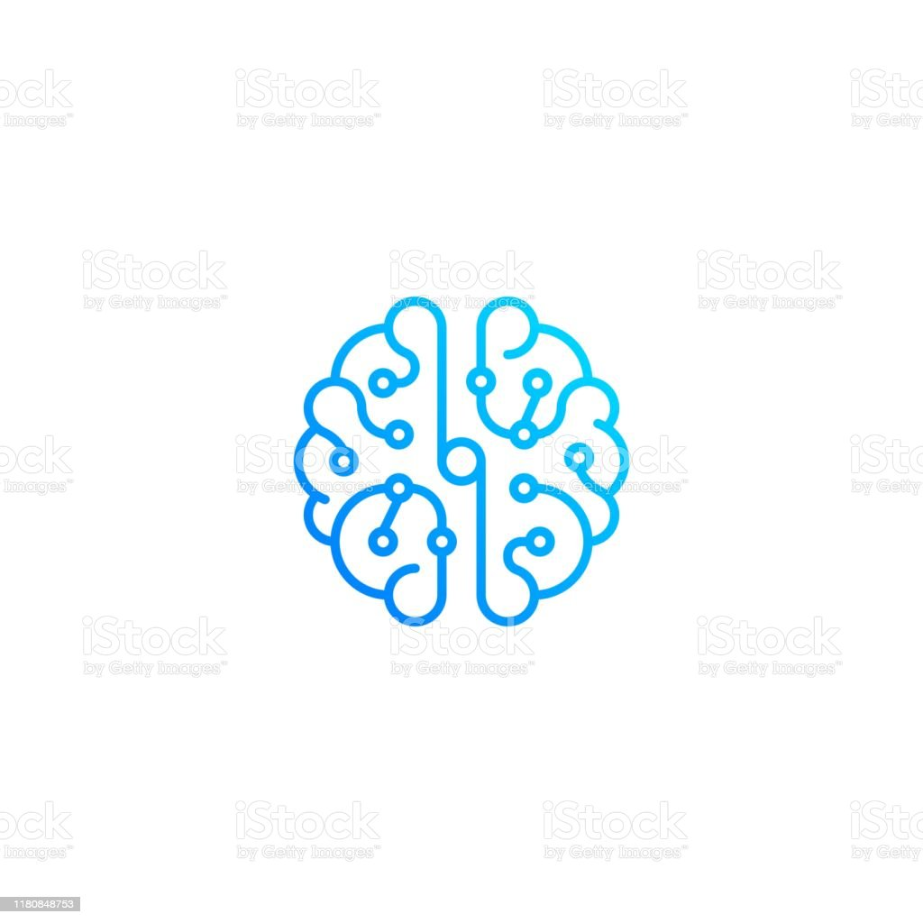 Brain technology top view. Vector icon template - Векторная графика Абстрактный роялти-фри