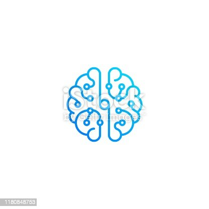 Brain technology top view. Vector icon template