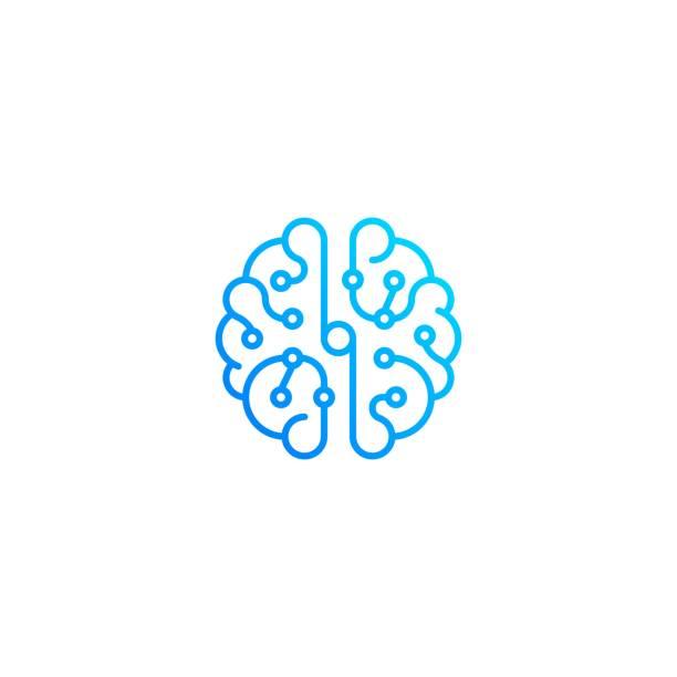 ilustraciones, imágenes clip art, dibujos animados e iconos de stock de vista superior de la tecnología cerebral. plantilla de icono vectorial - brain