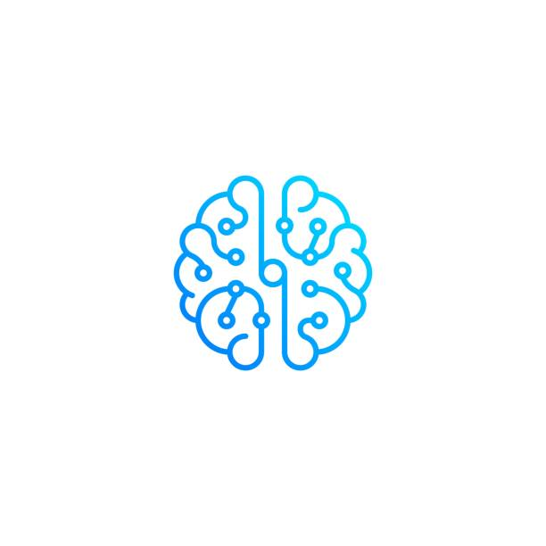 brain technology top view. vector icon template - ai stock illustrations