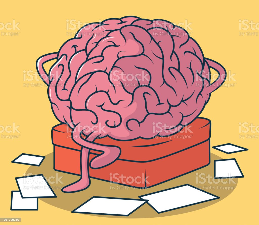 Brain thinking vector illustration. vector art illustration