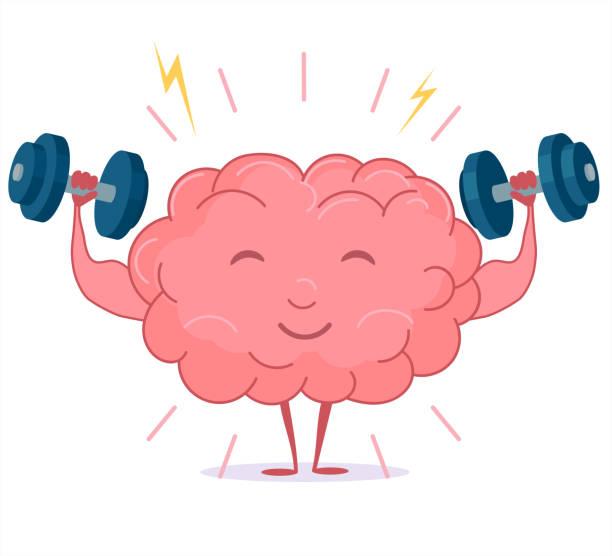 ilustrações de stock, clip art, desenhos animados e ícones de brain training with dumbbells, mind workout. vector - active brain