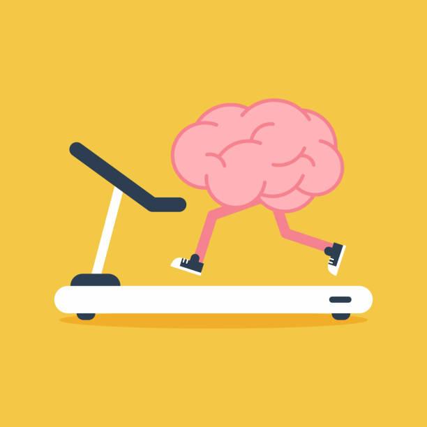 stockillustraties, clipart, cartoons en iconen met brain training met loopband met plat ontwerp. creatief idee concept - geestelijk welzijn