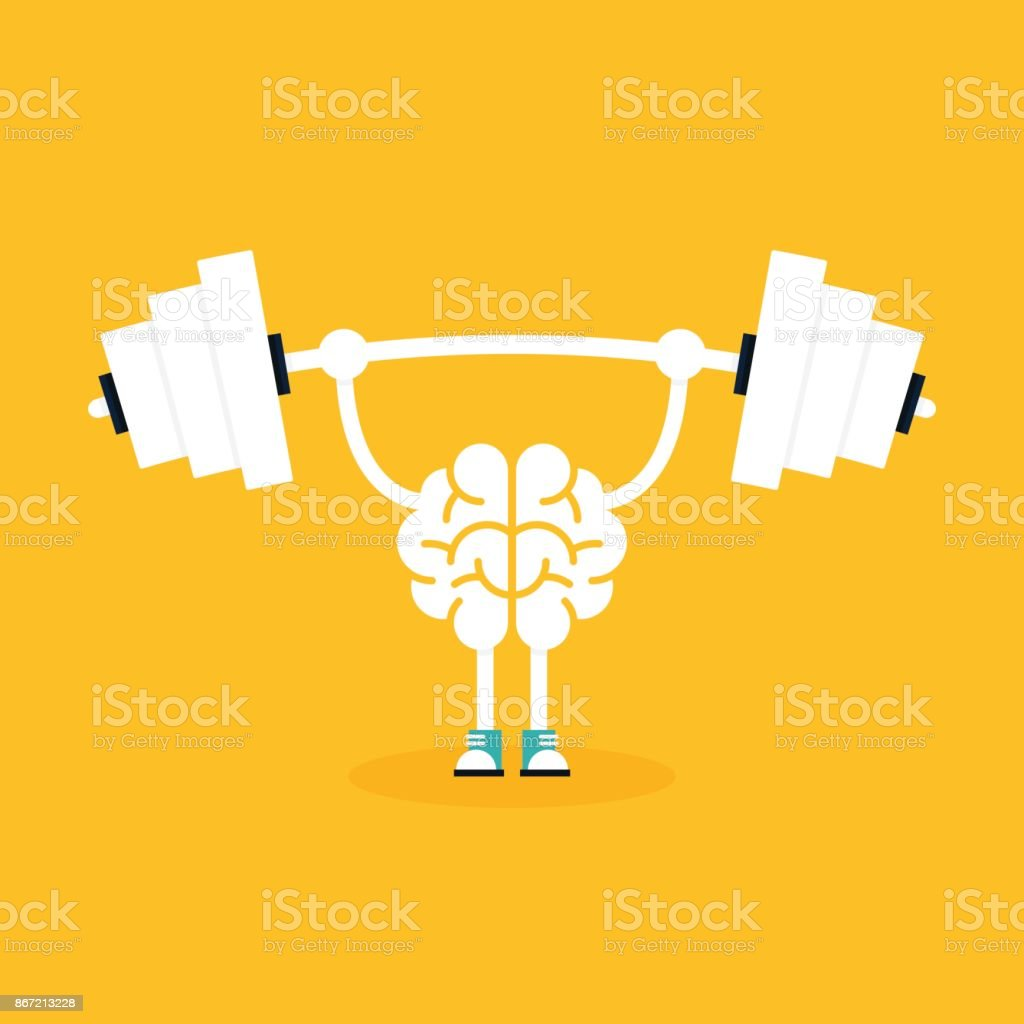 Brain training with weightlifting flat design. Creative idea concept vector art illustration