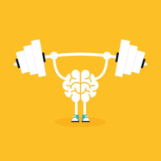 Brain training with weightlifting flat design. Creative idea concept Brain training with weightlifting flat design. Creative idea concept, vector illustration stiff stock illustrations