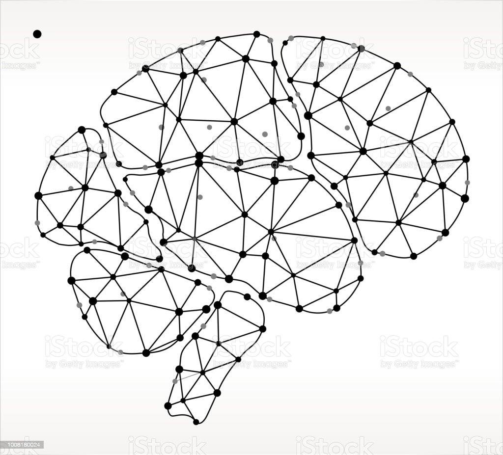 Brain  Triangle Node Black and White Pattern vector art illustration