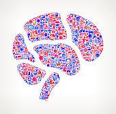 Brain on U.S.A Icon Pattern