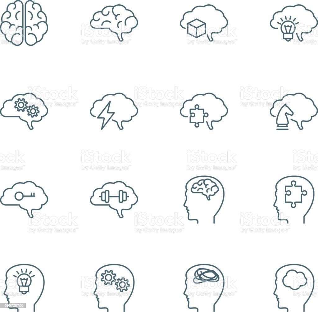 Brain vector icons vector art illustration