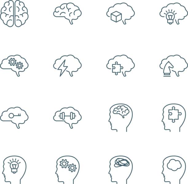 stockillustraties, clipart, cartoons en iconen met hersenen vector iconen - geestelijk welzijn