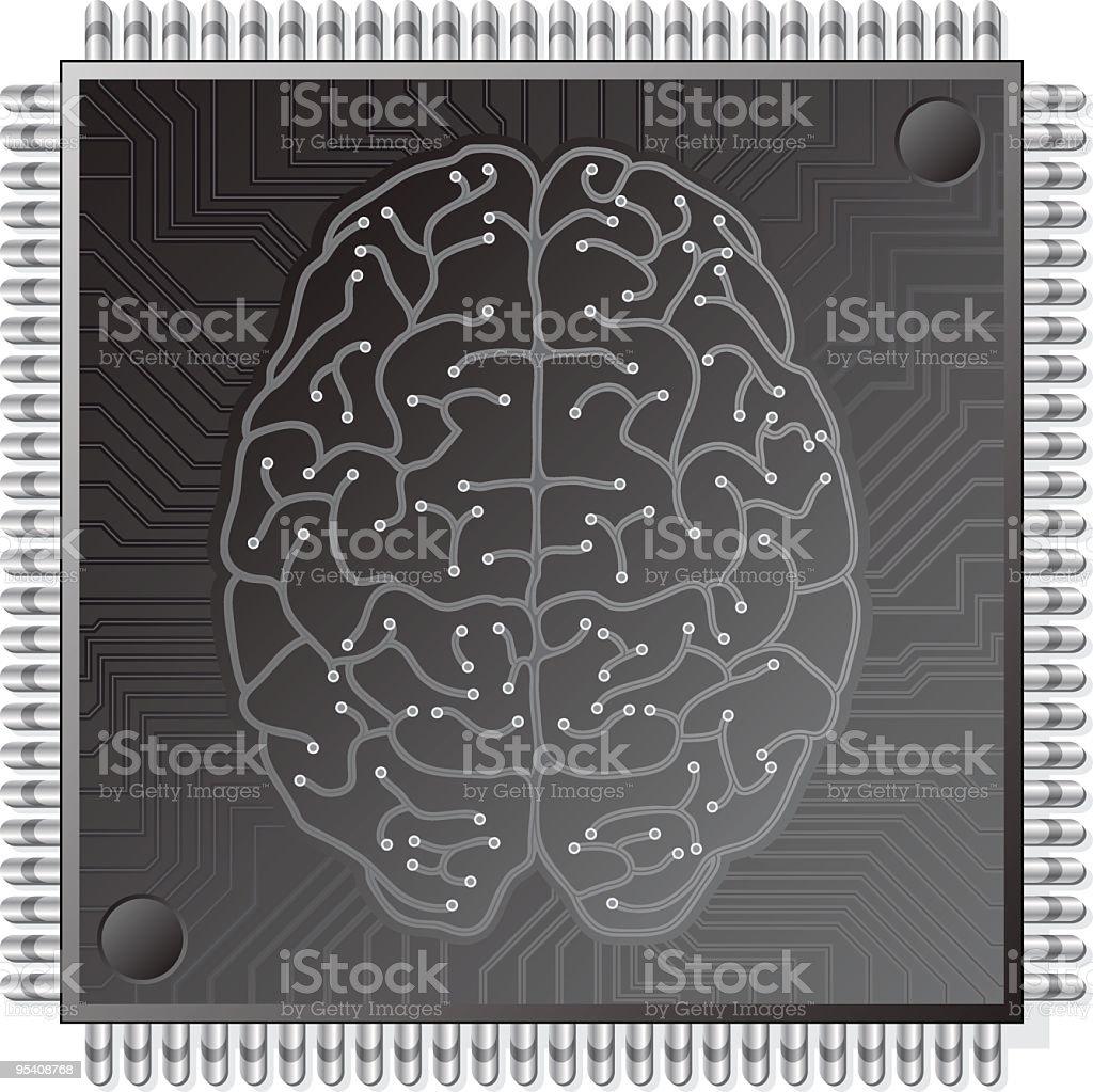 CPU brain vector art illustration