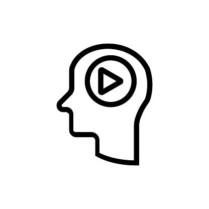 Brain video icon vector technology stock illustration