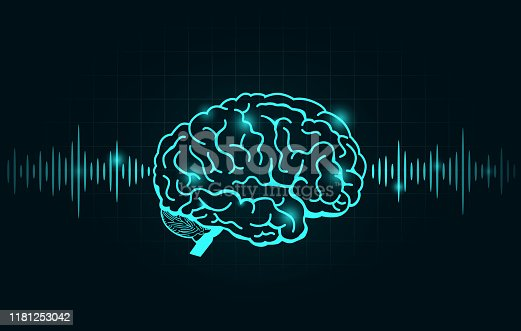 Brain wave and Frequency line on black graph. Illustration about Nervous system.
