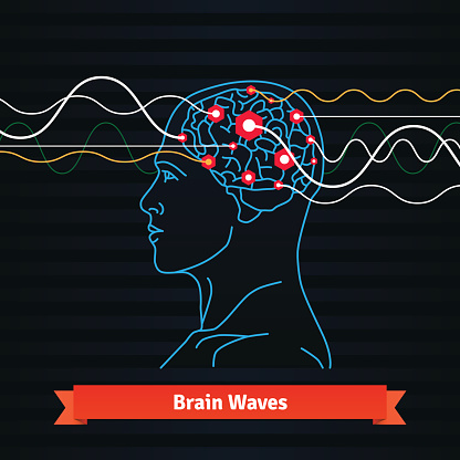 Brain Waves Electrodes Connected To A Man Head Stock ...
