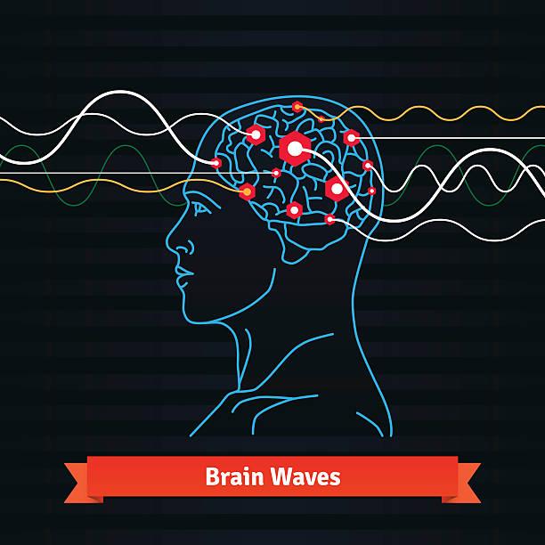 illustrazioni stock, clip art, cartoni animati e icone di tendenza di cervello onde. elettrodi collegato a un uomo testa - elettrodo