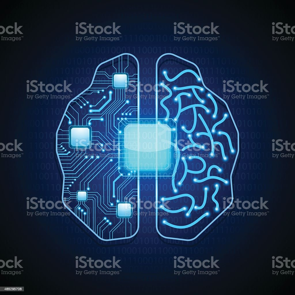 Brain with circuit board texture.vector vector art illustration