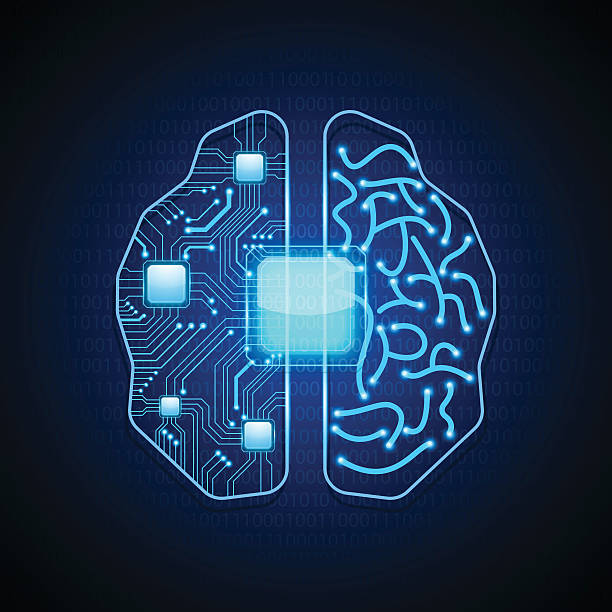 Brain with circuit board texture.vector vector art illustration