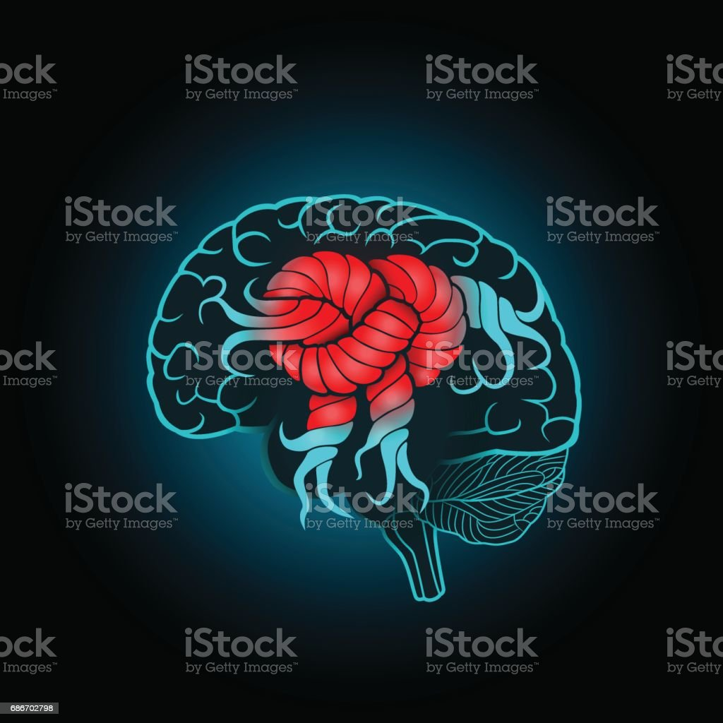 Brain with convolutions associated to the knot, the concept of the recovery of the brain, memory, stroke vector art illustration