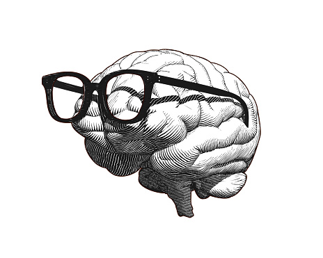 Brain with glasses drawing illustration isolated on white BG