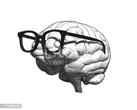 Monochrome retro engraving human brain with old retro glasses illustration in side view isolated on white background